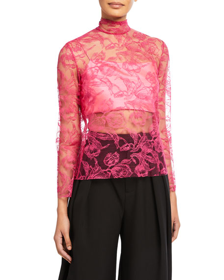 Semisheer Lace High-Neck Top