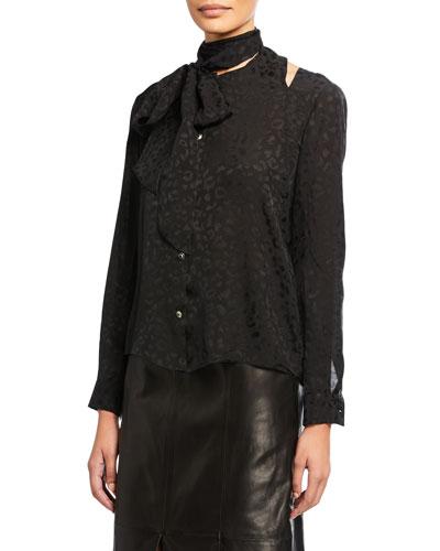 Leopard Jacquard Button-Front Tie Blouse