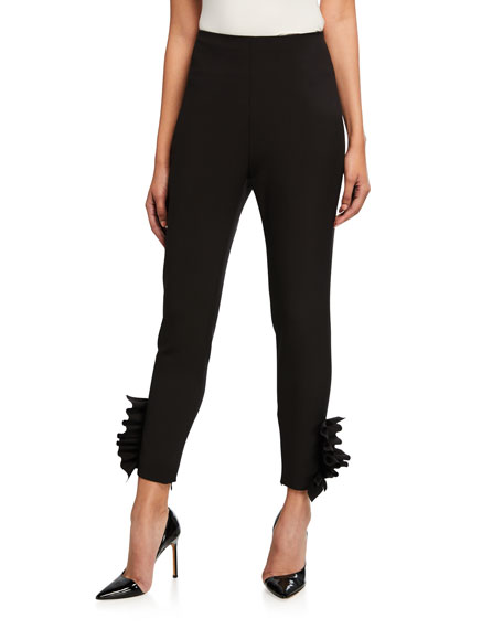 Image 1 of 1: Crepe Ruffle-Cuffed Slim-Leg Pants