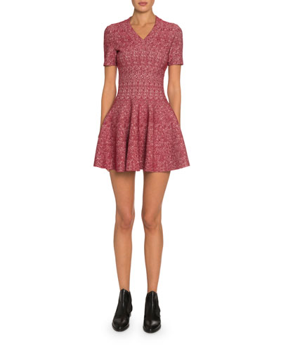 Spider Floral Jacquard V-Neck Dress