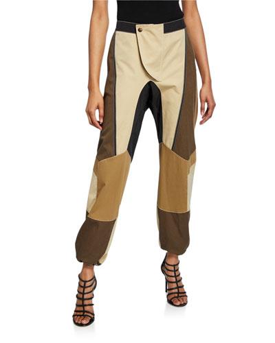 Patchwork Cotton Baggy Pants