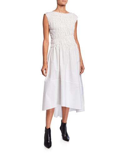 Cotton Smocked-Bodice Midi Dress