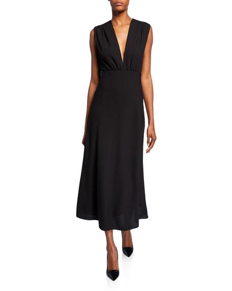 Sleeveless Wool Crepe Dress