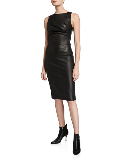Image 1 of 1: Side-Ruched Leather Sleeveless Dress