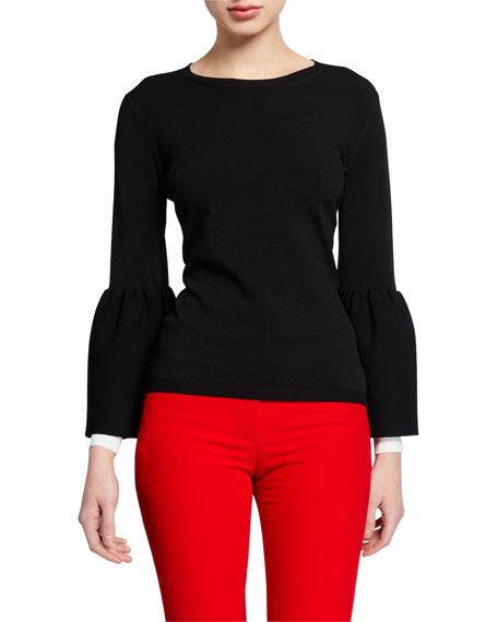 Image 1 of 1: Long-Sleeve Tulip-Cuff Sweater