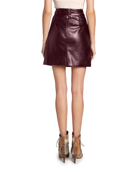 High-Waist Twisted Leather Skirt