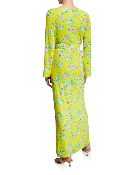 Monica Floral Viscose Jersey Belted Column Dress