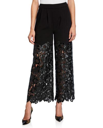 Wide-Leg Faux-Leather Lace Pants