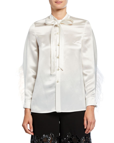 Feather-Seamed Satin Button-Front Blouse