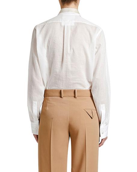 Plastron-Front Boyfriend Shirt