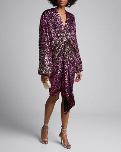 Degrade Sequin V-Neck Gathered Front Long-Sleeve Mini Dress