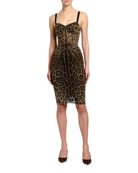Image 1 of 1: Leopard-Print Thin-Strapped Tulle Dress