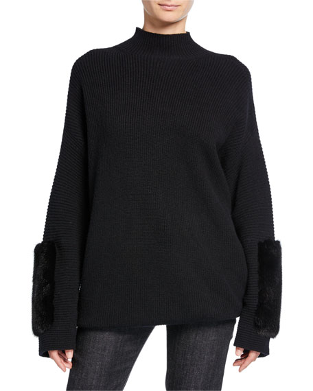 Image 1 of 1: Cashmere Mink-Cuff Sweater