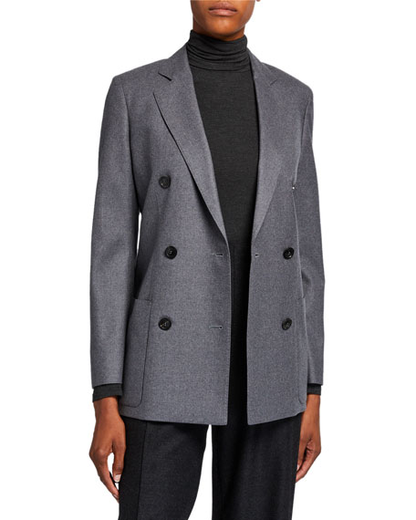 Wool Flannel Double-Breasted Jacket