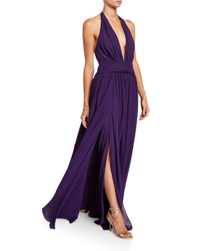 Silk Georgette V-Neck Gown with Removable Cape