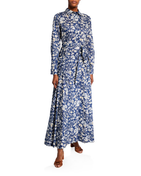 Image 1 of 1: Olivia Floral-Print Cotton Shirtdress