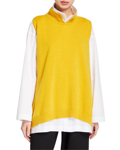 Cashmere Sleeveless Slit High-Neck Sweater