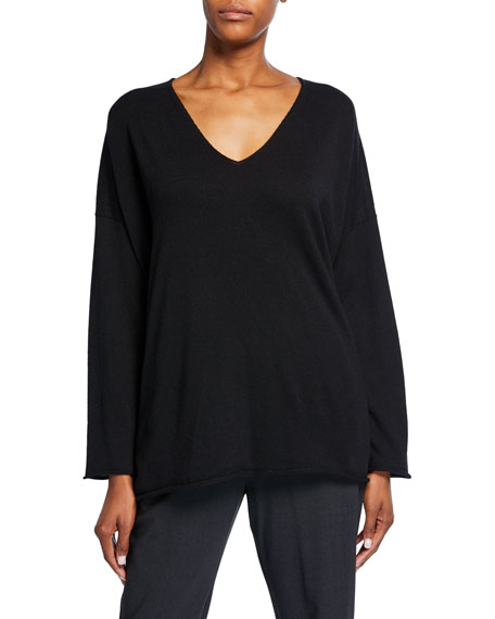 V-Neck A-Line Raw-Edge Cashmere Sweater