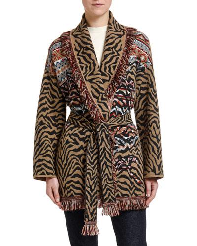Leopard & Fair Isle Wool-Cashmere Wrap Cardigan