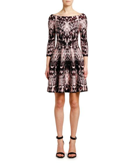 Off-the-Shoulder Crystal-Jacquard Cocktail Dress
