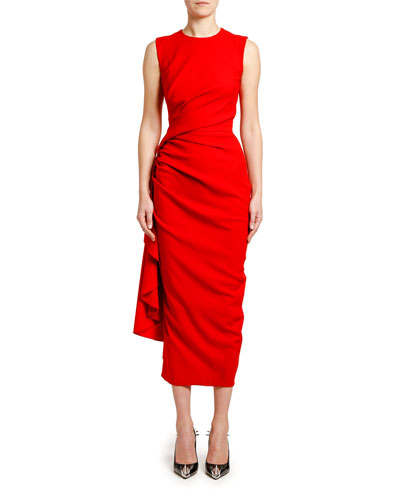 Ruched Crepe Cocktail Dress
