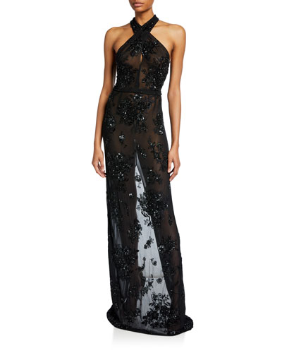 Beaded Sheer Crossover Gown