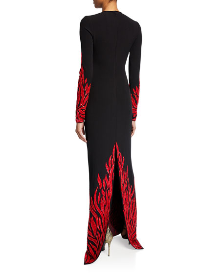 Fire-Embellished Long-Sleeve Keyhole Gown
