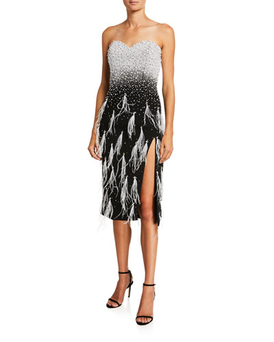 Feather-Trim Stretch Crepe Strapless Cocktail Dress