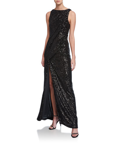 Sequined Ruched Column Gown