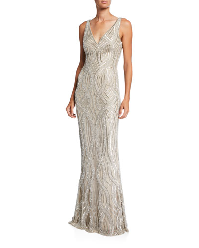 Hand-Embellished V-Neck Gown
