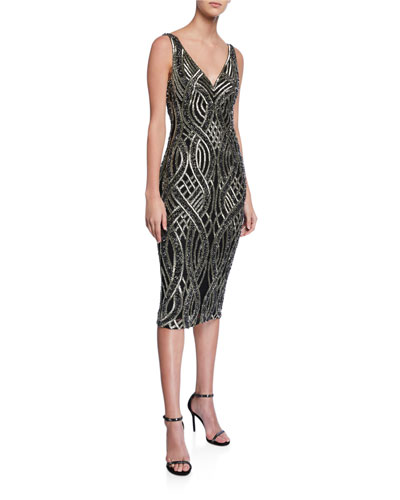 Sequin Hand-Embellished V-Neck Sleeveless Dress