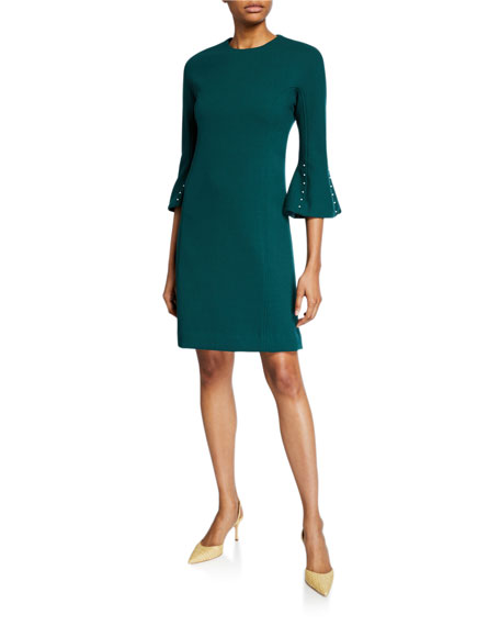 Image 1 of 1: Wool Crepe Pearly Sleeve Tunic Dress