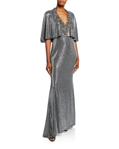 Sequined V-Neck Cape Gown