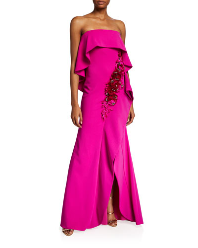 Embroidered Rosette Strapless Popover Gown