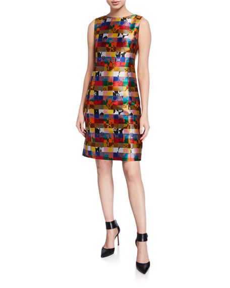 Image 1 of 1: Floral Jacquard Sleeveless Dress