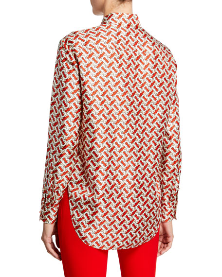 TB Monogram Printed Silk Blouse