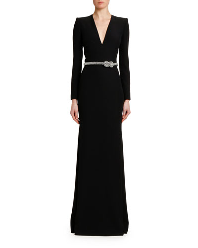 Crystal-Belted V-Neck Long-Sleeve Gown