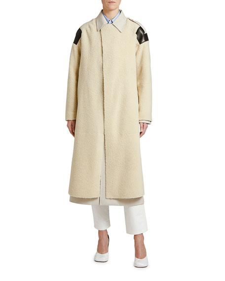 Leather-Patch Shearling Trench Coat