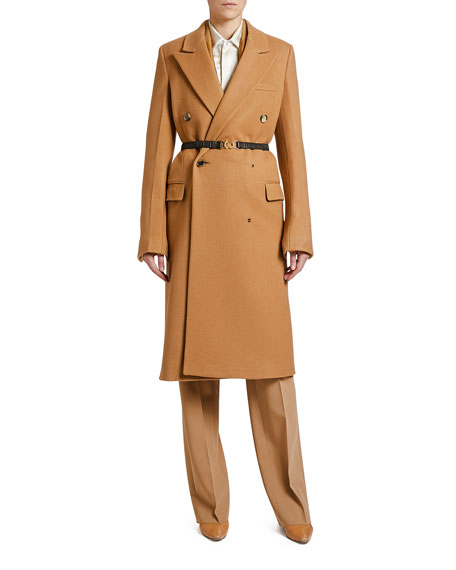 Image 1 of 1: Compact Wool Double-Breasted Coat