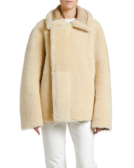 Image 1 of 1: Reversible Shearling Zip-Front Jacket
