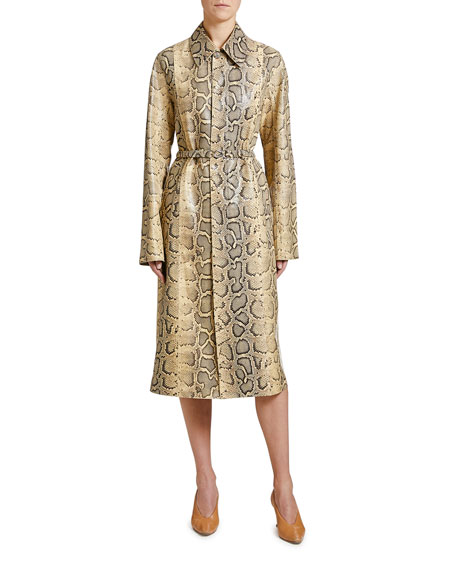 Image 1 of 1: Python-Print Leather Coat