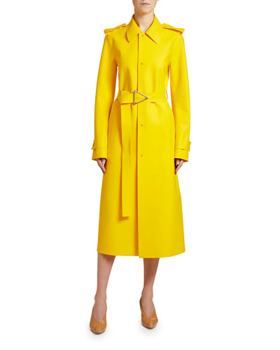 Rubber Single-Breasted Trench Coat