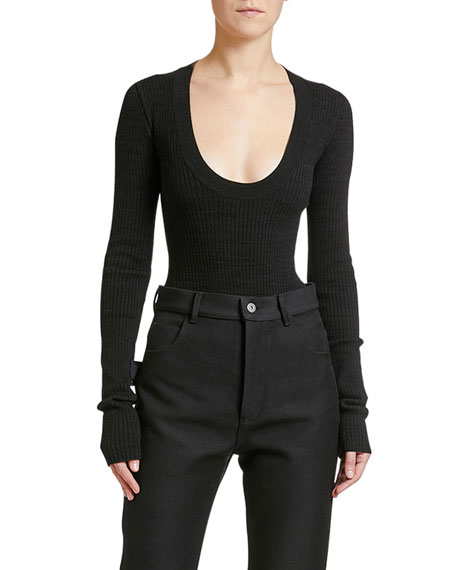 Fitted Scoop-Neck Ribbed Sweater