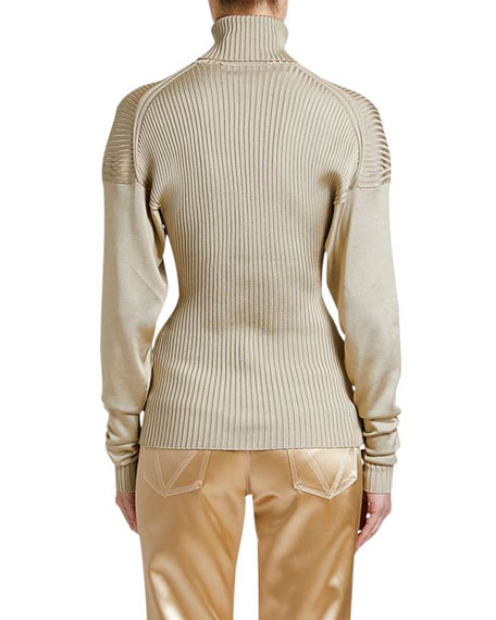 Ribbed-Silk Turtleneck Sweater