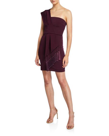 One-Shoulder Scarf-Neck Mini Dress w/ Tassels
