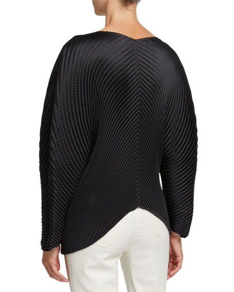 Pleated Solid V-Neck Top