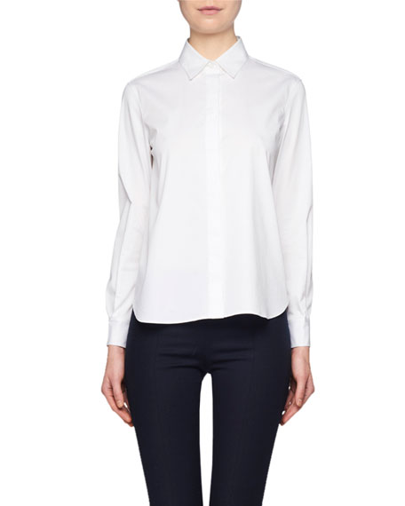Image 1 of 1: Yssetra Slim Button-Front Cotton Shirt