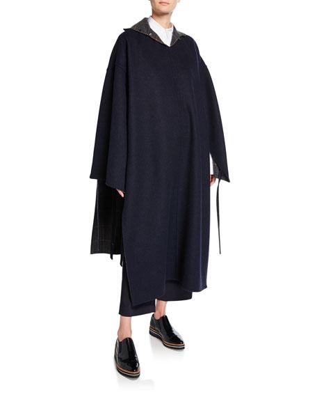 Reversible Plaid Wool Cape Coat