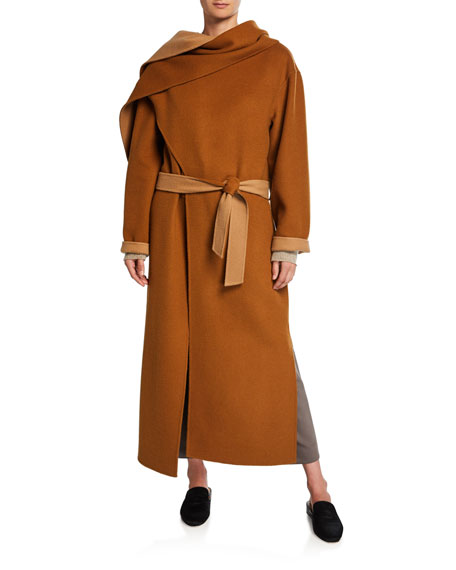 Image 1 of 1: Double-Faced Belted Wool Coat