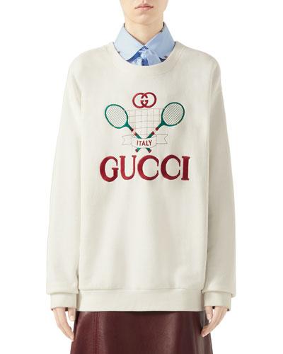 Oversized Embroidered Tennis-Logo Sweatshirt